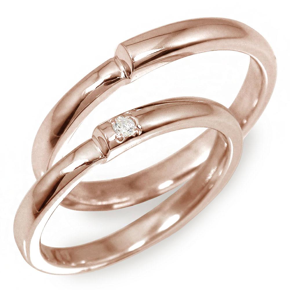 マリッジリング ペアリング 2本セット 18金 ダイヤモンド ピンクゴールド 指輪 誕生石 結婚指輪 レディース メンズ セット価格 【送料無料】