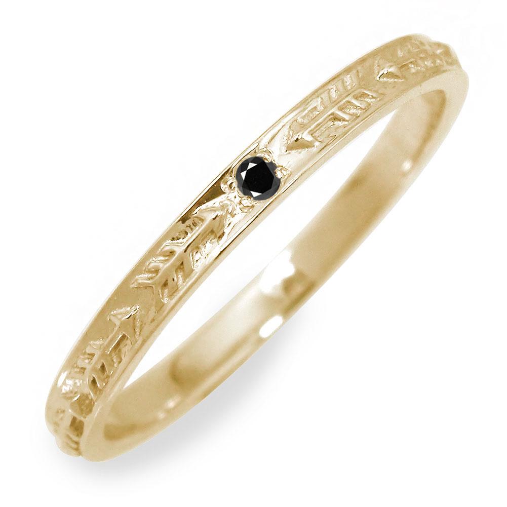 10/4 20時~ ブラックダイヤモンド メンズリング 18金 インディアン 指輪 地金 男性用 イエローゴールド アロー 送料無料 買い回り 買いまわり