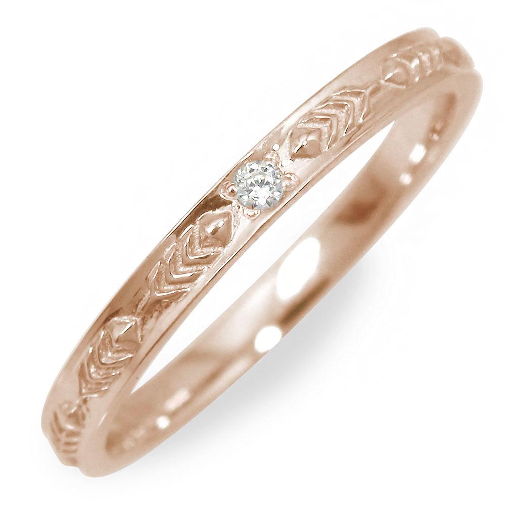 ダイヤモンド ピンクゴールド リング 指輪 10金 フェザー【送料無料】