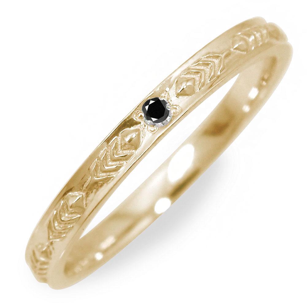 10/4 20時~ ブラックダイヤモンド メンズリング 18金 インディアン 指輪 地金 男性用 イエローゴールド フェザー 送料無料 買い回り 買いまわり