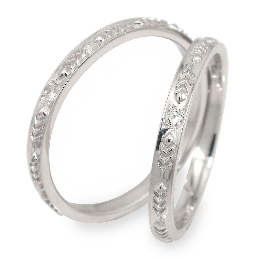 ペアリング ダイヤモンド 指輪 2本セット ホワイトゴールド 結婚指輪 10金 レディース メンズ セット価格 フェザー【送料無料】