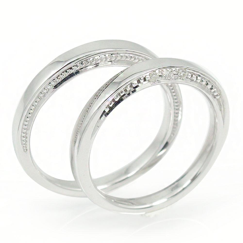 ペアリング ダイヤモンド 指輪 誕生石 2本セット ホワイトゴールド 結婚指輪 10金 レディース メンズ セット価格 【送料無料】
