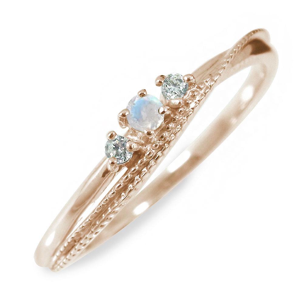10/4 20時~ ブルームーンストーン 18金 リング 誕生石 指輪 送料無料 買い回り 買いまわり