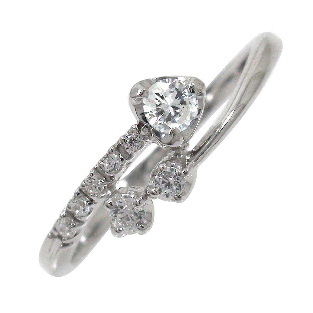 エンゲージリング 婚約指輪 流れ星リング 10金 ブライダル ダイヤモンド 指輪【送料無料】