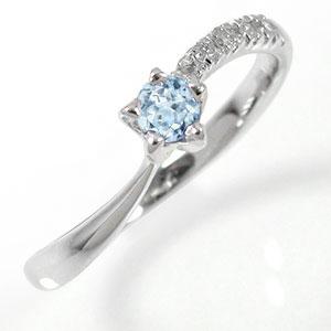 流れ星 指輪 10金 アクアマリン ダイヤモンド ピンキーリング ファッションリング【送料無料】