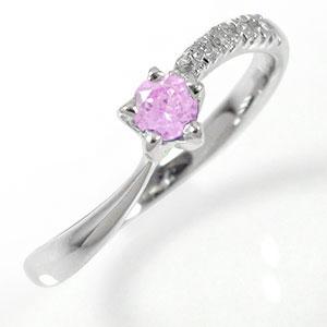流れ星リング 18金 ピンクサファイア 指輪 ピンキーリング ファッションリング【送料無料】