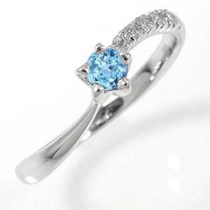 ピンキーリング 10金 流れ星 ダイヤモンド 指輪 ブルートパーズリング ファッションリング【送料無料】
