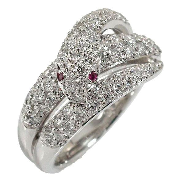 蛇 リング ダイヤモンド ヘビ プラチナ 指輪 スネーク ピンキー 送料無料