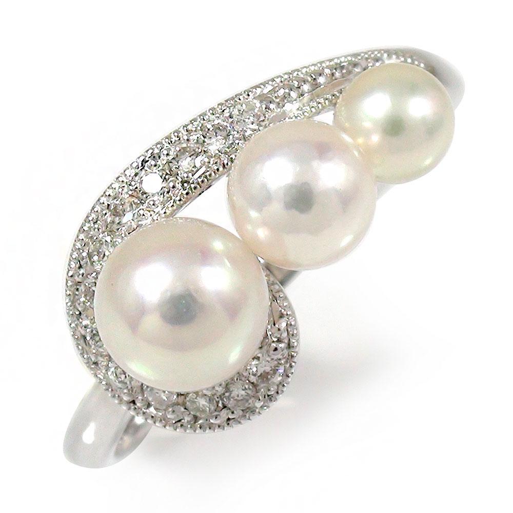 流れ星 ダイヤモンド プラチナ 真珠 ご注文で当日配送 リング 指輪 卸売り ピンキー ルメート アコヤ 送料無料 パール あこや貝