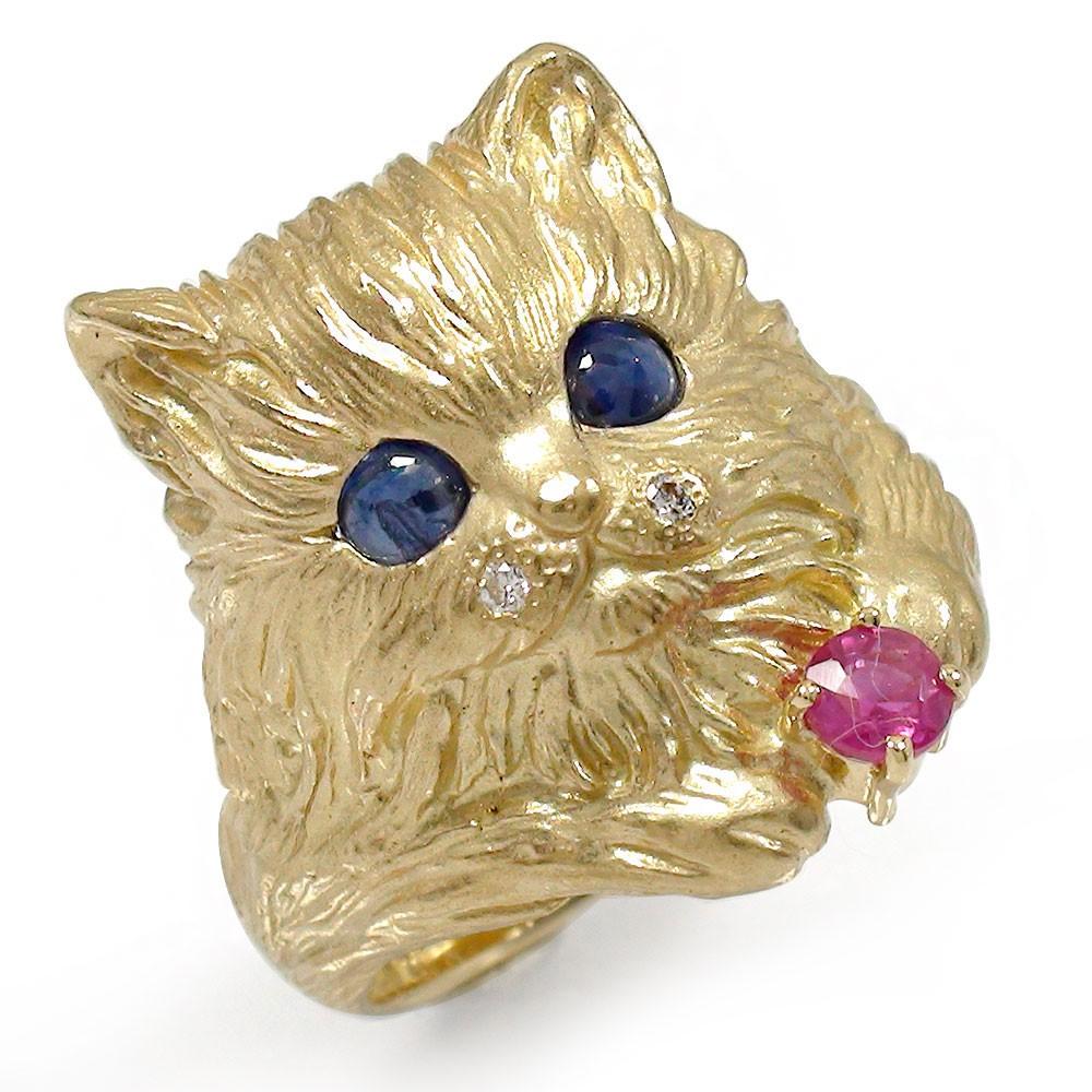 猫 リング K18イエローゴールド ネコ ピンキー 指輪 サファイア ルビ― 送料無料