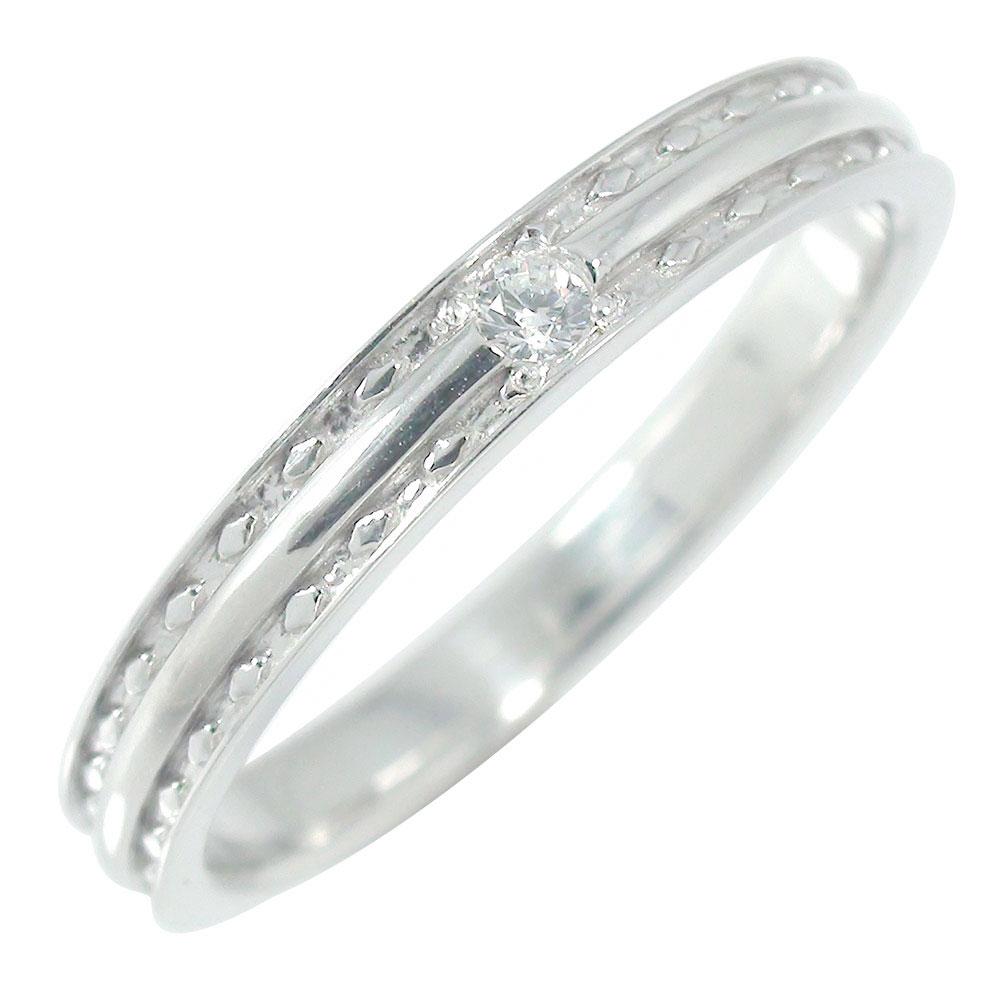リング ダイヤモンド ストレート 指輪 甲丸 ひし形 ミルグレイン ホワイトゴールド 10金 送料無料 キャッシュレス ポイント還元