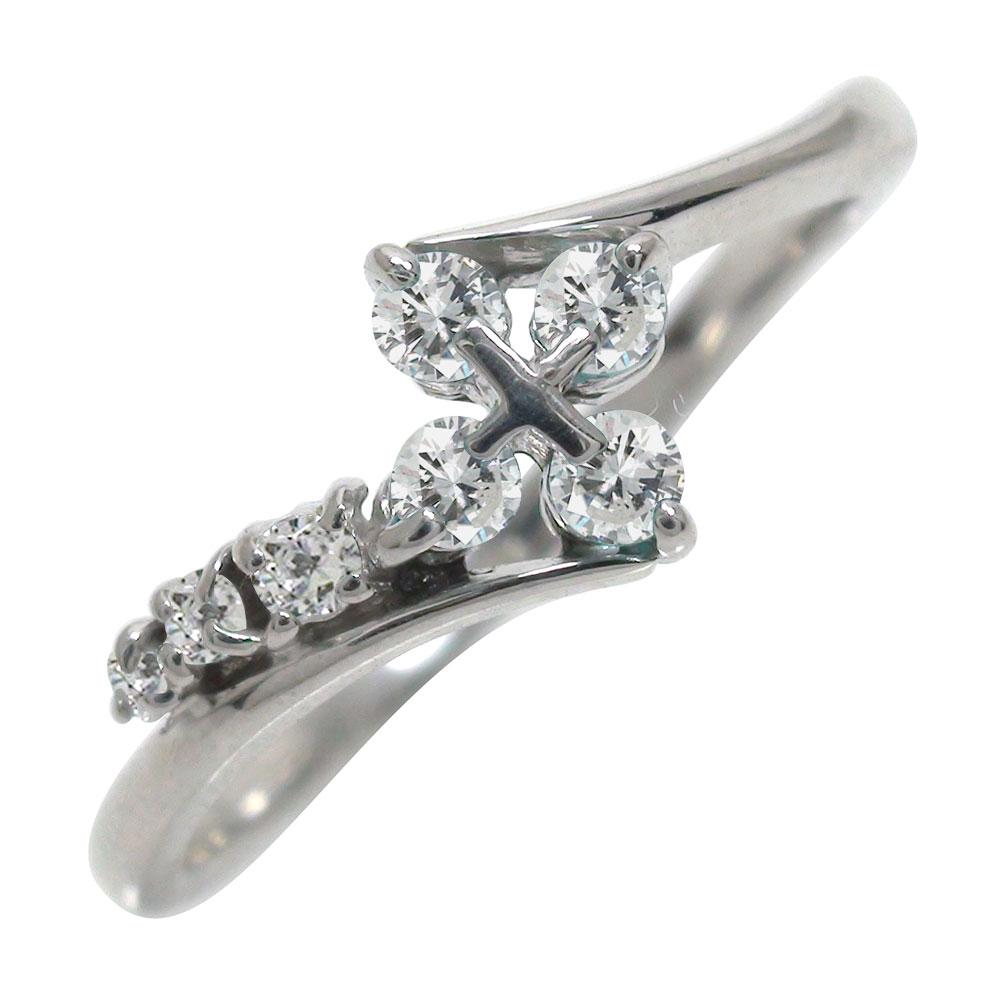 【送料無料】ダイヤモンドリング 結婚指輪 婚約指輪 エンゲージリング k18ホワイトゴールド クロス ピンキーリング ファッションリング オシャレ