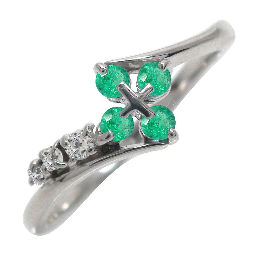 エメラルドリング 指輪 プラチナ900 クロス ダイヤモンド ピンキーリング ファッションリング オシャレ【送料無料】