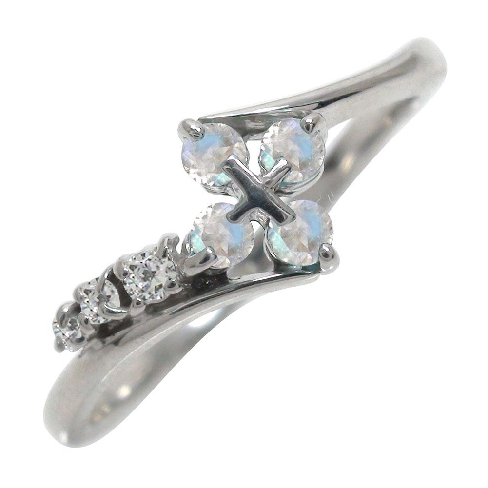 ブルームーンストーンリング 指輪 k10ホワイトゴールドk10WGクロス ダイヤモンド ピンキーリング ファッションリング【送料無料】