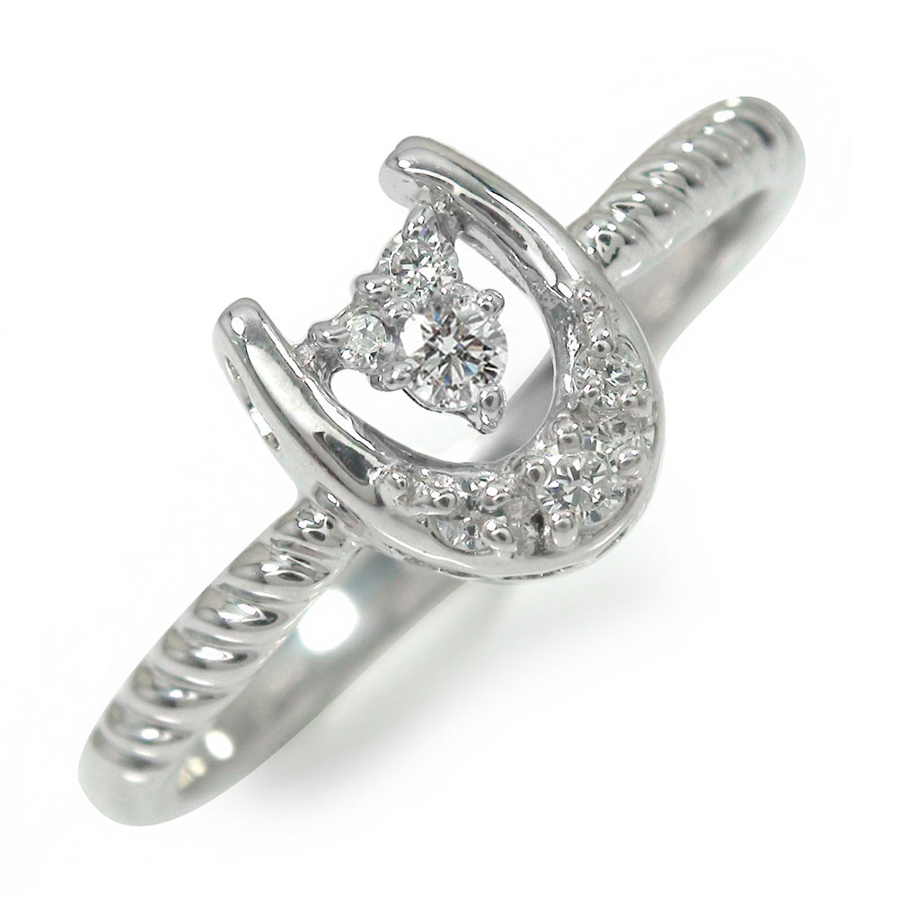 ダイヤモンド リング プラチナ 馬蹄 ピンキー 指輪 誕生石 ホースシュー【送料無料】