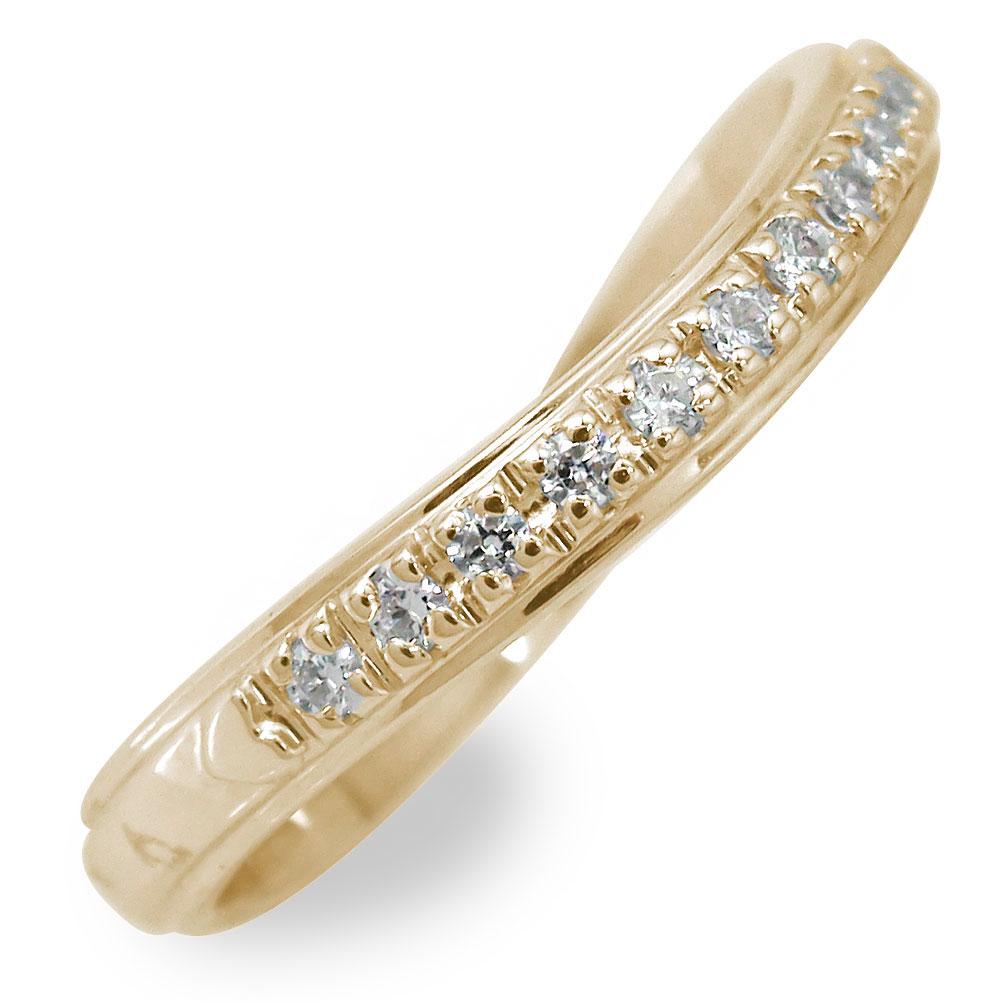 指輪 ハーフエタニティ リング レディース ダイヤモンド ウェーブ 0.22ct 指輪 10金 k10 10k ピンキー【送料無料】