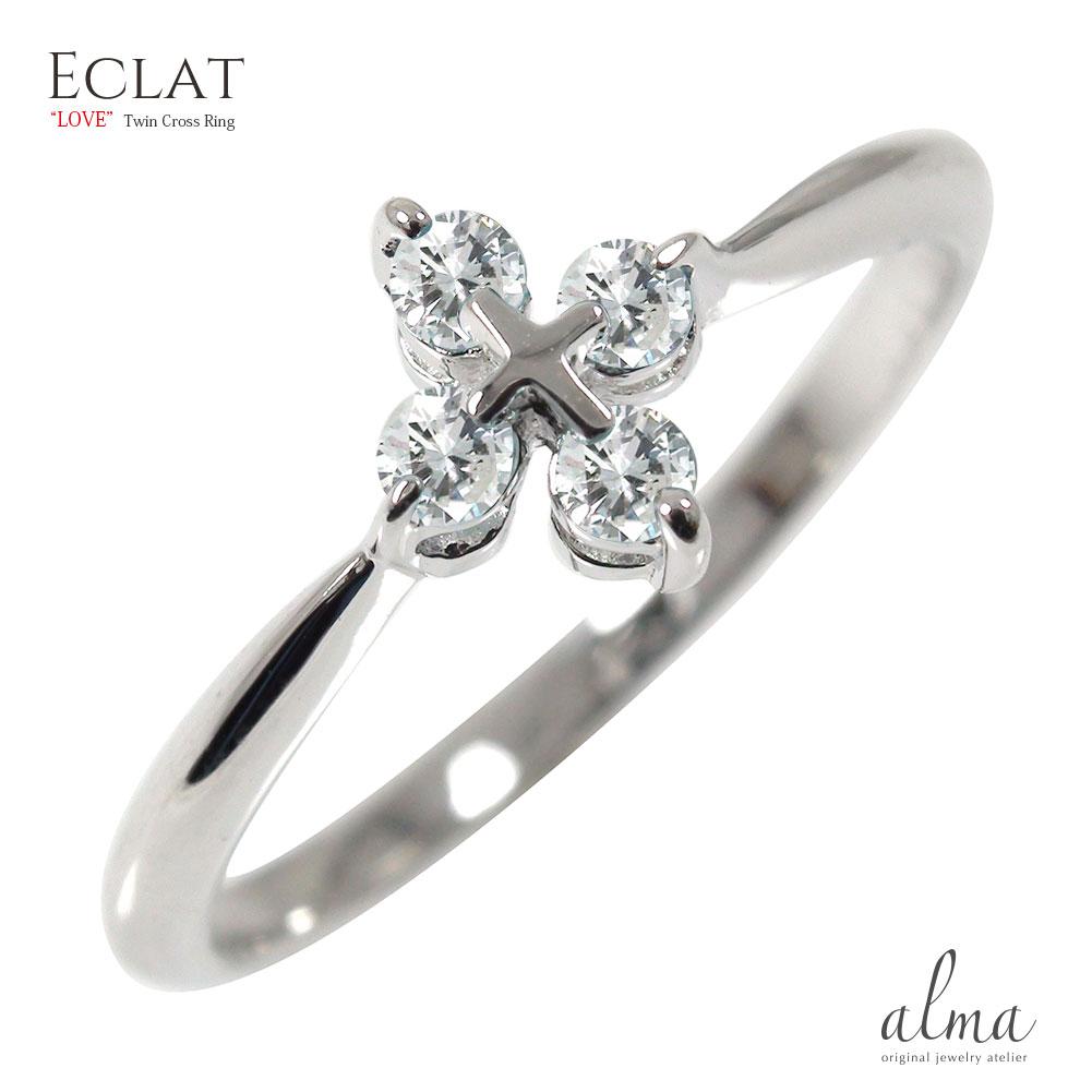 21日20時~28日1時まで プラチナ ダイヤモンド リング 指輪 人気 ジュエリー ピンキーリング カラーストーン 4石 クロス 十字架【送料無料】 買いまわり 買い回り
