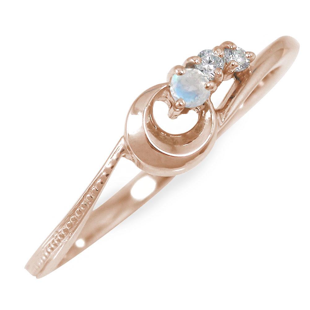 ピンキーリング 18金 ブルームーンストーン ダイヤモンド 流れ星 誕生石 指輪【送料無料】