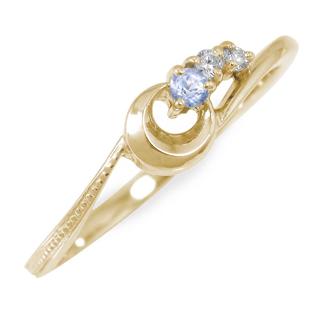 流れ星 10金 ピンキーリング 誕生石 指輪 タンザナイト ダイヤモンド【送料無料】