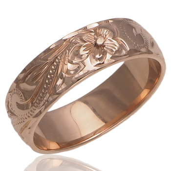 ハワイアンジュエリー リング ゴールドリング 4色のゴールドカラーから選べる 手彫り 6mm幅 ダイヤカット メンズ レディース指輪 刻印 14K ゴールド14金 ハワイ製 9号-17号