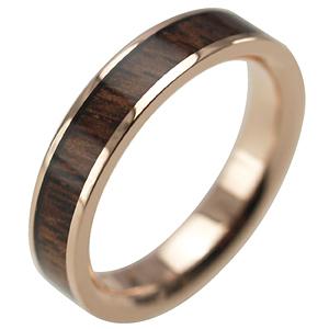 ハワイアンジュエリー リング ゴールドリング 指輪 alamea 14K ピンクゴールド 4mm コアウッドリング メンズ レディース ゴールド 刻印 7号-25号 結婚指輪