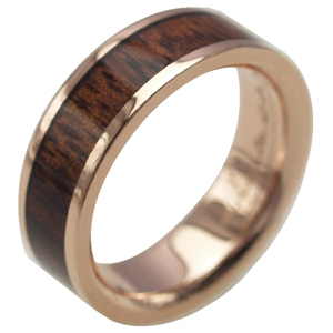 ハワイアンジュエリー リング ゴールドリング 指輪 alamea 14K ピンクゴールド 6mm コアウッドリング メンズ レディース ゴールド 刻印 7号-25号