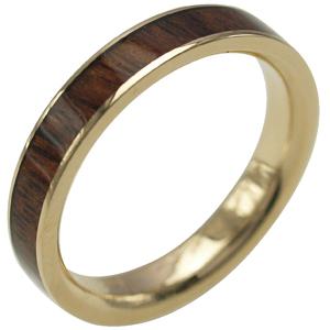 ハワイアンジュエリー リング ゴールドリング 指輪 alamea 14K イエローゴールド 4mm幅 コアウッドリング メンズ レディース 刻印 ハワイアン コアウッド 7号-25号