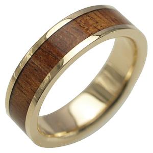 ハワイアンジュエリー リング ゴールドリング 指輪 alamea 14K イエローゴールド 6mm コアウッドリング メンズ レディース ゴールド ハワイアンコアウッド 刻印 7号-25号