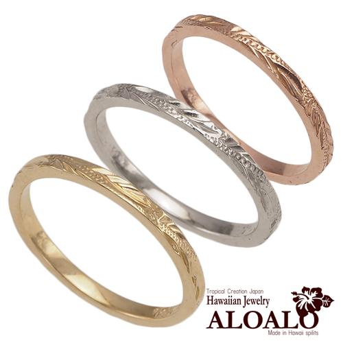 ハワイアンジュエリー リング ゴールドリング 極細 ハワイアンスクロール メンズ レディース 指輪 ハワイ製 14k ゴールド スクロール 波 2号-25号