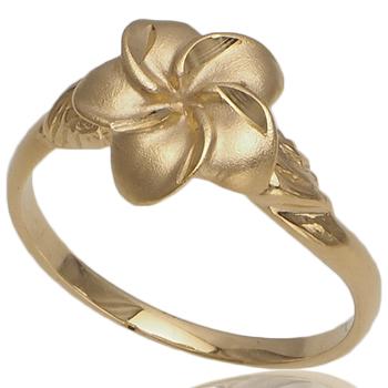 ハワイアンジュエリー リング ゴールドリング レディース 指輪 プルメリア リーフ 14K ハワイ製 2号-22号
