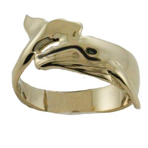 ハワイアンジュエリー リング ゴールドリング リアルホエール メンズ レディース 指輪 刻印 ハワイ製 14k ゴールド クジラ 2号-25号