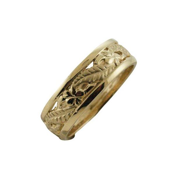 ハワイアンジュエリー リング ゴールドリング 透かし プルメリア リーフリング レディース 指輪 14k ゴールド 6mm ハワイ製 2号-25号