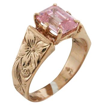 ハワイアンジュエリー リング ゴールドリング 立て爪 ハワイアンスクロールストーンリング メンズ レディース 指輪 刻印 ハワイ製 14k ゴールド 天然石 2号-25号