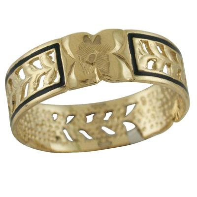 ハワイアンジュエリー リング ゴールドリング 4枚プルメリアオールドエナメルマイレ メンズ レディース 指輪 ハワイ製 14k ゴールド 2号-25号