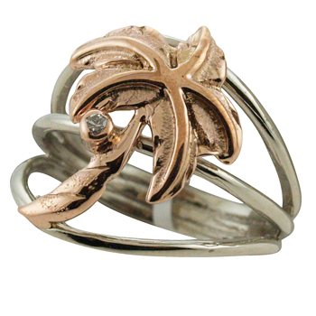 ハワイアンジュエリー リング ゴールドリング 2トーン パームツリー レディース 指輪 ダイヤモンド ハワイ製 14k ゴールド ヤシ柄 2号-25号