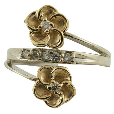 ハワイアンジュエリー リング ゴールドリング 2トーンプルメリアデザイン レディース 指輪 ハワイ製 14k ゴールド ダイヤモンド プルメリア 2号-25号