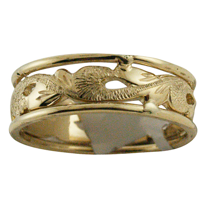 ハワイアンジュエリー リング ゴールドリング 2トーンスクロール メンズ レディース 指輪 ハワイ製 14k ゴールド 透かし スクロール 波 2号-25号
