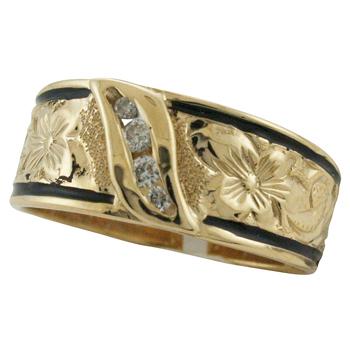 ハワイアンジュエリー リング ゴールドリング ダイヤモンドラインエナメルボーダー メンズ レディース 指輪 刻印 ハワイ製 14k ゴールド 2号-25号
