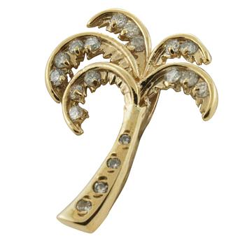 ハワイアンジュエリー ネックレス ペンダント トップ 14K ゴールド ダイヤモンドを散りばめた煌めく パームツリートップ メンズ レディース ダイヤモンド ヤシの木 ハワイ製