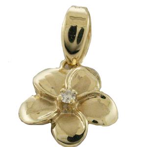 ハワイアンジュエリー ネックレス ペンダント トップ 14K ゴールド ダイヤモンドプルメリアトップ レディース ダイヤモンド プルメリア ハワイ製