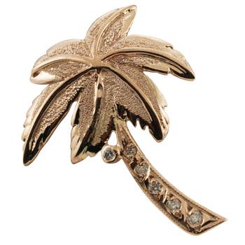 ハワイアンジュエリー ネックレス ペンダント トップ 14K ゴールド パームツリーダイヤモンドココナッツトップ メンズ レディース ダイヤモンド ヤシの木 ハワイ製
