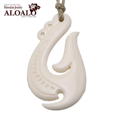 ボーンカーヴィング 本格ポリネシアン 手彫りのボーンアクセサリー フィッシュフック カウボーン