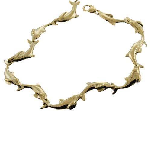 ハワイアンジュエリー ブレスレット 14k ゴールド ドルフィンブレスレット メンズ レディース ゴールド ハワイ製