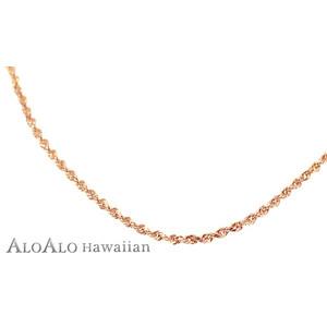 ハワイアンジュエリー ネックレス チェーン 14K ピンクゴールド ロープチェーン 40cm メンズ レディース ゴールド