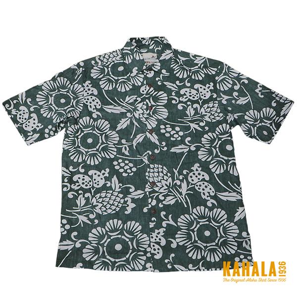 【カハラのアロハシャツ】 本物のメイドインハワイアロハブランド 人気のデュークスパレオ グリーン