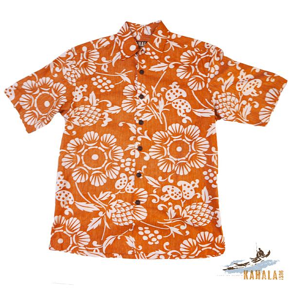 20%OFF Kahala 【カハラ アロハシャツ】 本物のメイドインハワイアロハブランド 人気のデュークスパレオ オレンジ