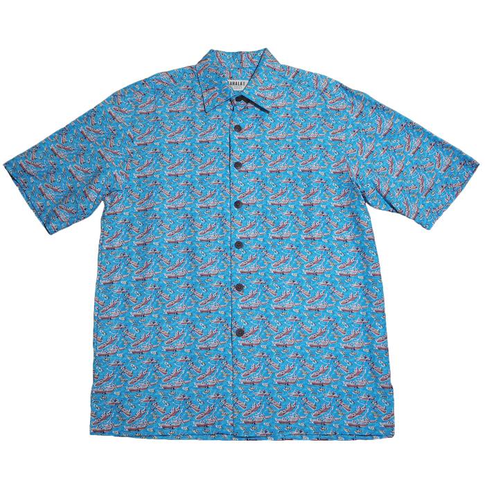 【カハラのアロハシャツ】 本物のメイドインハワイ アロハブランド ジャンプアヒ スカイブルー メンズ Sサイズ