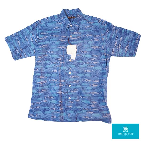 【トリリチャードのアロハシャツ】 レギュラーサイズ 本物のメイドインハワイアロハブランド ピスセス ブルー