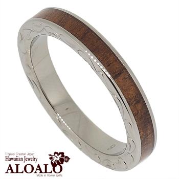 ハワイアンジュエリー リング コアウッド チタンリング メンズ レディース 指輪 刻印 alamea ハワイアンコア 3mm幅 7号 21号thQdCrs