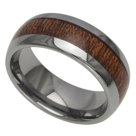 ハワイアンジュエリー ペアリング 指輪 8mm コアウッドバレル ペアリング メンズ レディース タングステン ハワイアン コアウッド 刻印 9号-21号